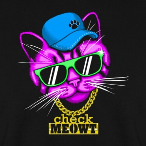 Zwart Check meowt Sweaters - Mannen sweater