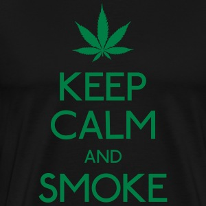 keep calm and smoke holde roen og røg T-shirts - Herre premium T-shirt