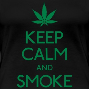 keep calm and smoke holde roen og røg T-shirts - Dame premium T-shirt