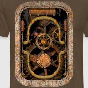 Rusty and Grungy Steampunk Machinery T-Shirt - Herre premium T-shirt