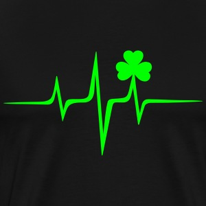 Music heart rate shamrock Patricks Day Irish Folk T-Shirts - Men's Premium T-Shirt