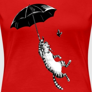 Rød Cat Umbrella T-skjorter - Premium T-skjorte for kvinner