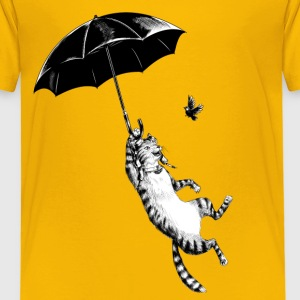 Solgul Cat Umbrella Skjorter - Premium T-skjorte for barn
