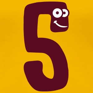 Number 5 five cartoon cartoon funny face T-Shirts - Women's Premium T-Shirt