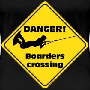 Danger Boarder crossing girls - Frauen Premium T-Shirt