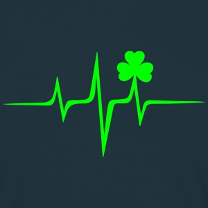 Music heart rate shamrock Patricks Day Irish Folk Tee shirts - T-shirt Homme