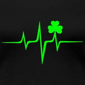 Music heart rate shamrock Patricks Day Irish Folk T-Shirts - Women's Premium T-Shirt