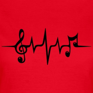 Heart rate pulse music note clef Electro Classic T-shirts - T-shirt dam