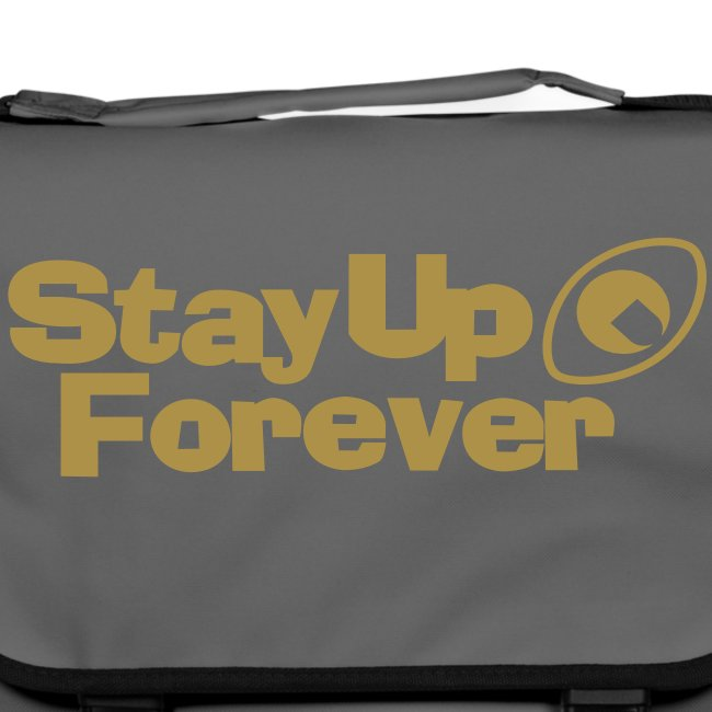 Stay Up Forever shoulder bag with metallic gold print