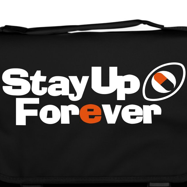 Stay Up Forever shoulder bag with white and orange print