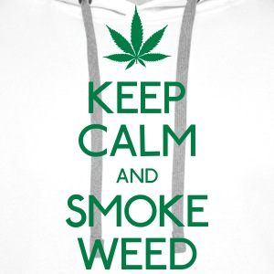 keep calm and smoke  garder calme et fumée  Sweat-shirts - Sweat-shirt à capuche Premium pour hommes