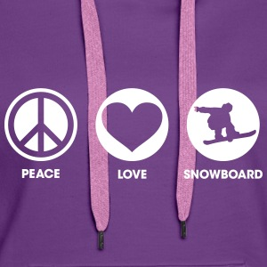 Peace Love Snowboard Sweat-shirts - Sweat-shirt à capuche Premium pour femmes