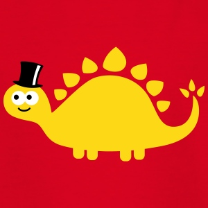 Funny cute dinosaur with cylinder (hat) T-Shirts - Kinder T-Shirt