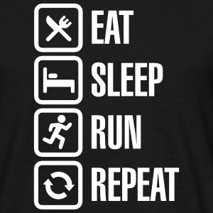 Eat sleep run repeat T-shirts - Mannen T-shirt