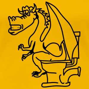 Dragon agterstavn pis toilet cool tegneserie T-shirts - Dame premium T-shirt