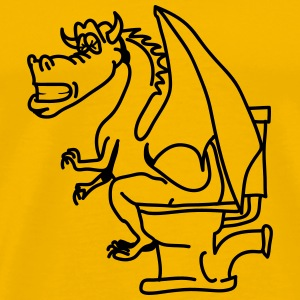 Dragon poop shitting toilet cool comic T-Shirts - Men's Premium T-Shirt