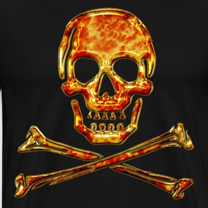 schedel, piraat, Skull, Fire, pirate, digital, crystal skulls, fire, flame,  pirates flag Sweaters - Mannen Premium T-shirt