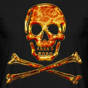 Skull, Fire, pirate, digital, crystal skulls, fire, flame,  pirates flag T-skjorter - T-skjorte for menn