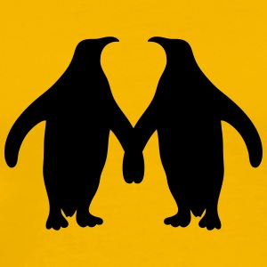 Love couple silhouette in love 2 penguins T-Shirts - Men's Premium T-Shirt