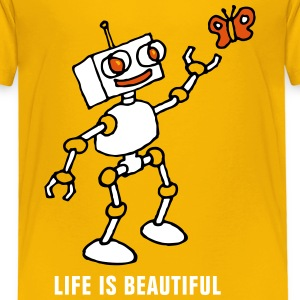 robot_and_butterfly_032014_b_3c T-Shirts - Kinder Premium T-Shirt