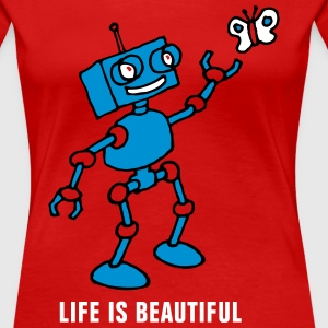 robot_and_butterfly_032014_c_3c T-Shirts - Frauen Premium T-Shirt