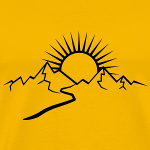 Mountain hiking trail and Sun T-Shirts - Men's Premium T-Shirt