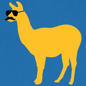 Funny llama with sunglasses and mustache Tee shirts - T-shirt Homme col V