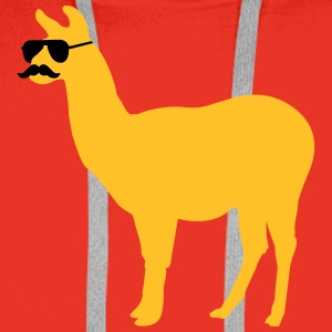 Funny llama with sunglasses and mustache Sweat-shirts - Sweat-shirt à capuche Premium pour hommes
