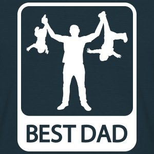 Best Dad - Funny Silhouette - Father and Children  - Men's T-Shirt