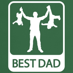 Best Dad - Funny Silhouette - Father and Children  - Cooking Apron