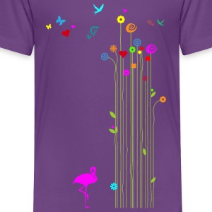 Kindershirt Frühling Schmetterlinge Flamingo - Kinder Premium T-Shirt