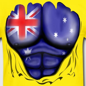 Australia Flag Ripped Muscles, six pack, chest t-s - Men's Ringer Shirt