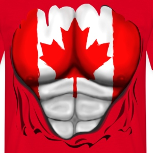 Canada Flag Ripped Muscles, six pack, chest t-shir - Men's T-Shirt