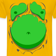 Design ~ Comic Fat Belly Green, beer gut, beer belly, chest t-shirt