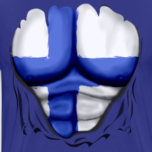 Finland Flag Ripped Muscles six pack chest t-shirt - Men's Premium T-Shirt