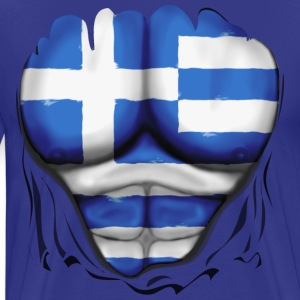 Greece Flag Ripped Muscles six pack chest t-shirt - Men's Premium T-Shirt