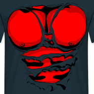 Design ~ Ripped Muscles Red, six pack, chest t-shirt