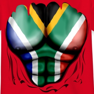 South Africa Flag Ripped Muscles, six pack, chest  - Teenage T-shirt