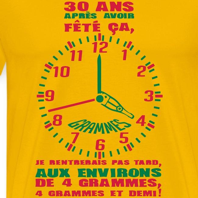 30 Ans Horloge Alcool T Shirt Premium Homme