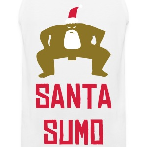 White SUMO SANTA T-Shirts - Men's Premium Tank Top