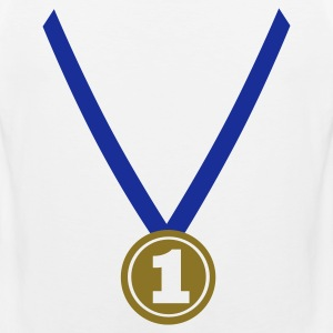 White Winner Medal - Number One 1 T-Shirts - Men's Premium Tank Top