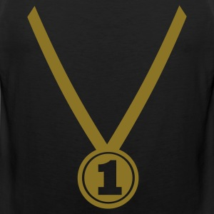 Black Winner Medal - Number One 1 T-Shirts - Men's Premium Tank Top