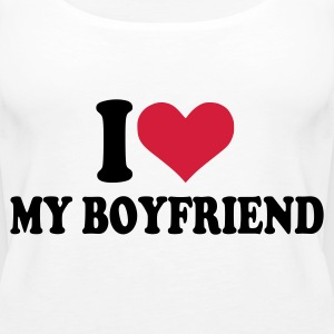 White I love my boyfriend Ladies' - Women's Premium Tank Top