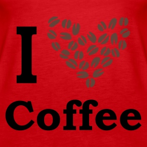 Red I Love Coffee Tops - Women's Premium Tank Top