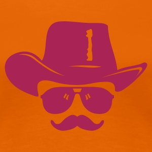 Orange Cowboy mit Schnurrbart T-Shirts - Frauen Premium T-Shirt