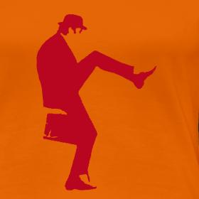 Design ~ John Cleese Neon Orange Silly Walk Women's Shirt