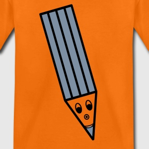 Kinder Shirt orange – Lachender Stift silber-matt/schwarz - Teenager Premium T-Shirt