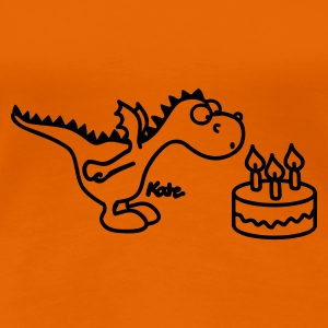 Orange happy Birthday, little dragon Women's T-Shirts - Women's Premium T-Shirt