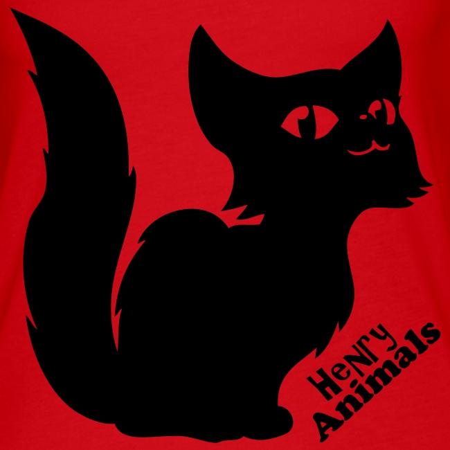 Frauen Tank Top rot mit flauschiger Comic Katze