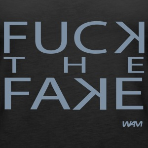 Svart fuck the fake by wam Topper - Premium singlet for kvinner